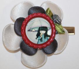 Haarclip bloem wit/antraciet - bottlecap met meisje en roosje