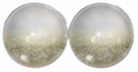 12 mm glascabochon sparkling gold/white , per 2 stuks