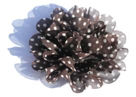 Stoffen bloem zwart met wit stipje 9 cm