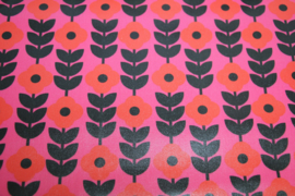 Geplastificeerd katoen : retro bloem,  per 25 cm
