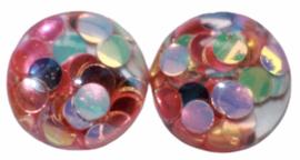 Flatback cabochon glitter confetti 12 mm, per 2 stuks