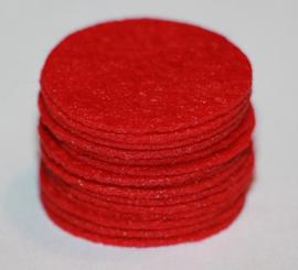 Rond viltje rood 25mm, per stuk