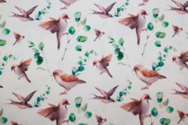 Tricot digitale print : vogels bladeren, per 25 cm