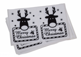 Kerst stickers merry christmas rendier zwart-wit 12 stuks