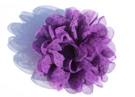 Stoffen bloem paars met zwart stipje 9 cm