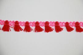 Roze/rood kwastjesband 15mm, per 0,5 meter
