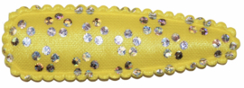 kniphoesje satijn geel met zilveren bloemetje 5 cm