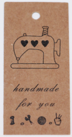 Bruine kartonnen kaartjes handmade for you, per 10 stuks