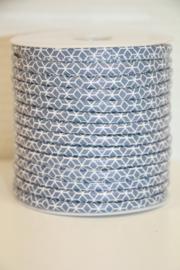 Luxe koord met geometrische print grijs/wit, per 0,5 meter