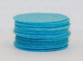 Rond viltje aquablauw 40 mm, per stuk