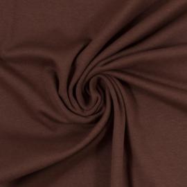 Bruine  boordstof. Rondgebreid 48 cm. Per 25 cm
