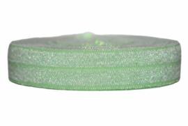 Elastisch band zachtgroen met glitters 16 mm per 0,5 meter