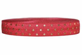 Elastisch band rood met gouden stippen 16 mm per 0,5 meter