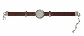 armband bruin met setting zilver 20 mm