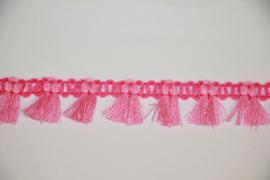 Roze/lichtoze kwastjesband 15mm, per 0,5 meter