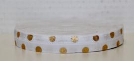 Elastisch band wit met gouden stippen 16 mm per 5 meter