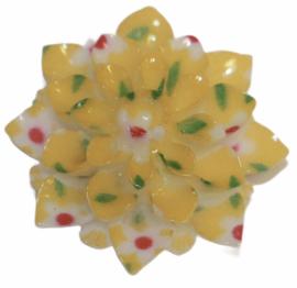 Bloem geel met bloem-print 20mm