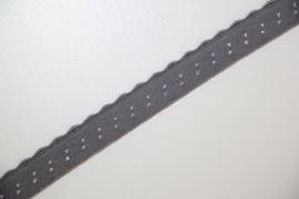 Elastische biaisband met schulprandje grijs 10mm per 0,5 meter