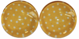Glas flatback cabochon 12mm geel met wit stipje per 2 stuks