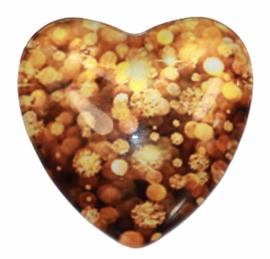 Hart: golden sparkles 25mm, per stuk