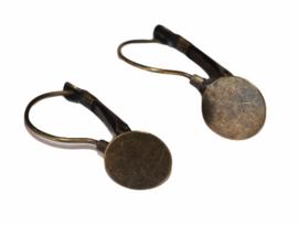 Oorbellen met plakvlak 10mm bronskleur french lever back per paar