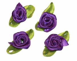 Roosjes met blad 25x15 mm paars per 4 stuks