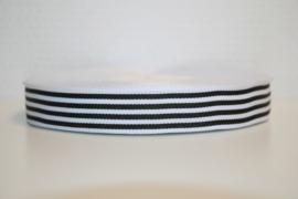 Zwart/wit gestreept ribsband 25 mm, per 0,5 meter