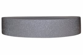 Glitter elastiek zilvergrijs 50 mm per 0,5 meter