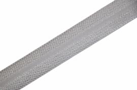 Elastisch biaisband/vouwtres JACQUARD kleur wit 20 mm per 0,5 meter