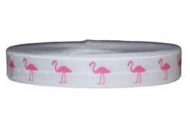 Elastisch band wit met fuchsia roze flamingo 16 mm per 0,5 meter
