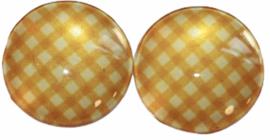 12 mm glascabochon geel geruit, per 2 stuks