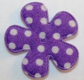 Bloem applicatie 27 mm paars met witte stip katoen per 5 stuks