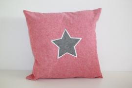 Kussenhoes ster 40x40 cm rood-zwart
