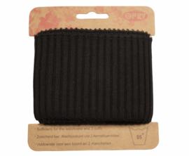 Cuff zwart brede ribbel 110 x 7 cm
