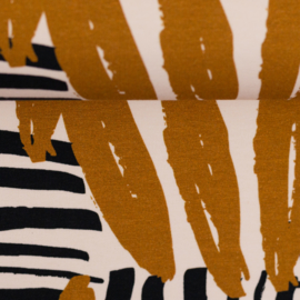 Tricot: Johanna strepen zwart/ oker (Swafing), per 25 cm