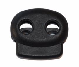 Koordstopper 2-gaats 23mm zwart, per stuk