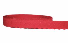 Elastische biaisband met schulprandje (vouwkant) rood 10mm per 0,5 meter