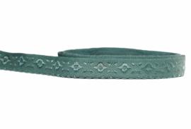 Elastische biaisband jacquard met schulprandje (vouwkant) oudgroen 10mm per 0,5 meter
