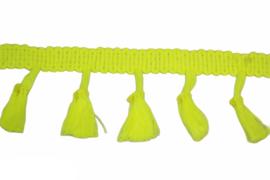 Neon geel kwastjesband 40mm, per 0,5 meter