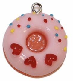 Donut hanger 24 mm framboos met hartjes