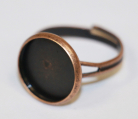 Verstelbare ring red copper dia ca 16 mm setting past 12mm
