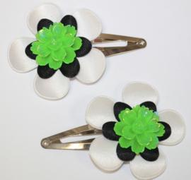 Haarclipjes wit/zwart neon bloem