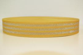 Elastiek lurex mosterdkleur zilver 40 mm per 0,5 meter
