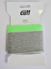 Cuff/ boordje grijs-neon groen + lurex 135x7 cm