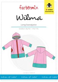 Farbenmix papier patroon Wilma lang sweatvest 86/92 - 170/176