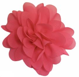 Stoffen bloem 7 cm knalroze