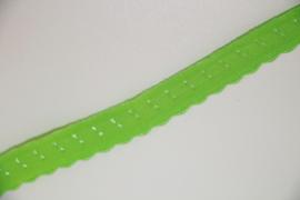 Elastische biaisband met schulprandje limegroen 10mm per 0,5 meter
