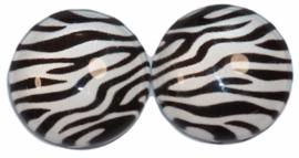 12 mm glascabochon zebraprint, per 2 stuks
