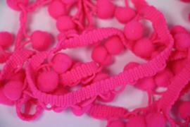 Bolletjesband neon roze, per 0,5 meter
