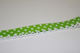 Biaisband met kant stip kleur groen per meter
